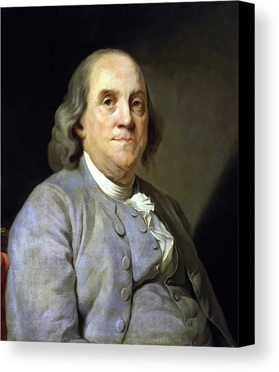 Benjamin Franklin Canvas Print featuring the painting Benjamin Franklin by War Is Hell Store