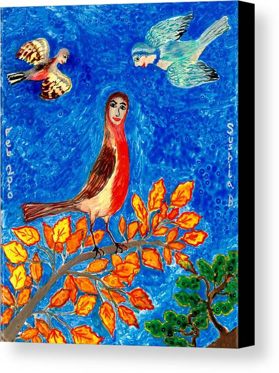 Sue Burgess Canvas Print featuring the painting Bird People Robin by Sushila Burgess