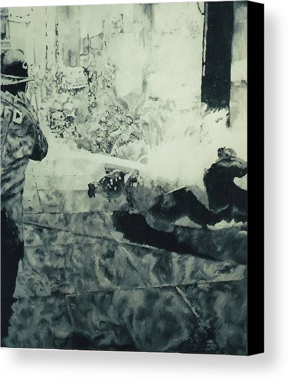 Civil Rights Movement Canvas Print featuring the painting Birmingham Fire Department Sprays Protestor With High Pressure Water Hoses 1963 by Lauren Luna