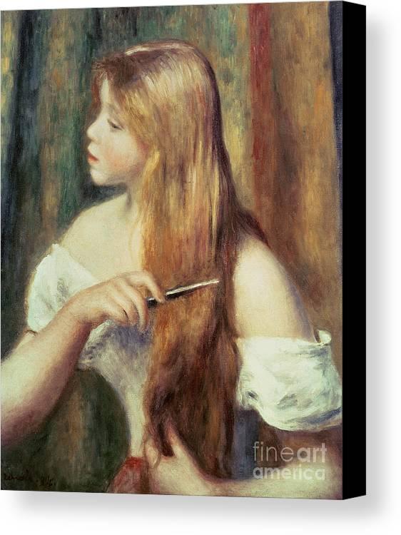 Blonde Girl Combing Her Hair Canvas Print featuring the painting Blonde Girl Combing Her Hair by Pierre Auguste Renoir