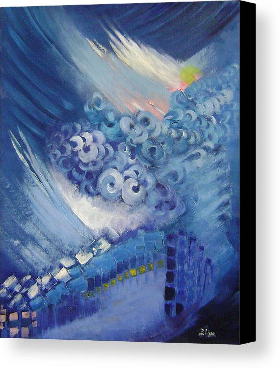 Abstract Canvas Print featuring the painting Blue Concerto 2 by Lian Zhen