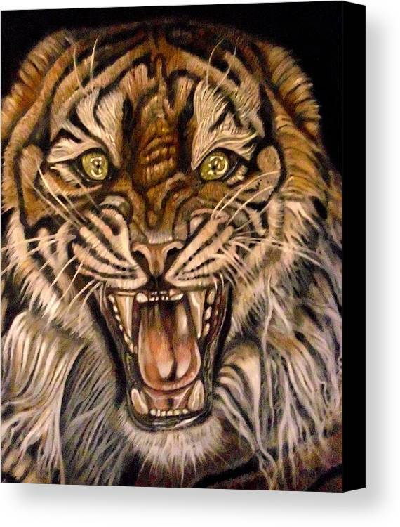 Tiger Canvas Print featuring the painting Brawler by Herbert Renard