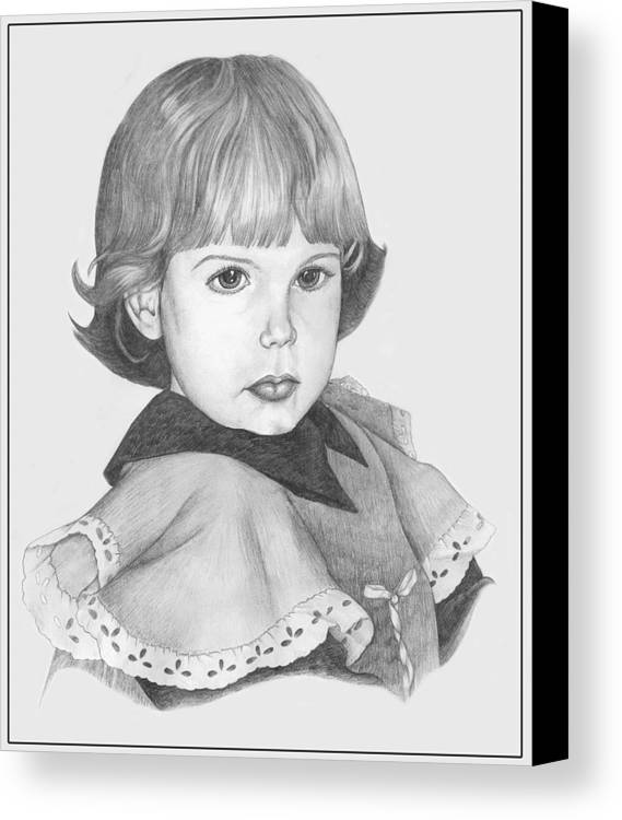 Pencil Drawings Canvas Print featuring the drawing Caught Stealing Cookies by Winifred Ann Weishampel