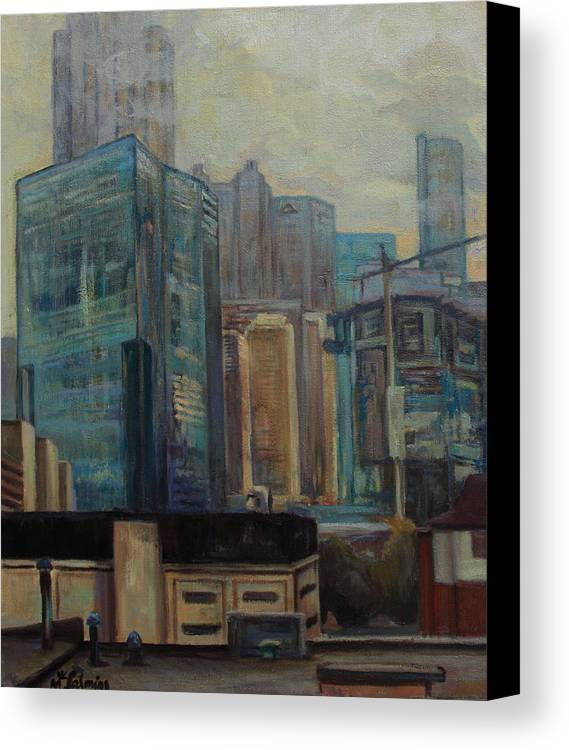 City Canvas Print featuring the painting City In The Cityscape by Maris Salmins