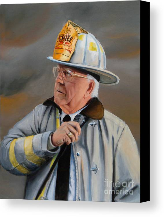 Fire Chief Canvas Print featuring the painting Command by Paul Walsh