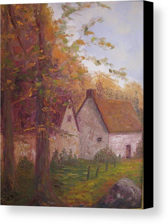 Landscape Canvas Print featuring the painting Cottage On The Moors by Belinda Consten
