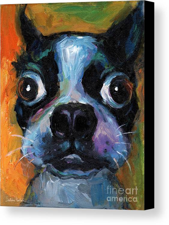 Cute Boston Terrier Canvas Print featuring the painting Cute Boston Terrier Puppy Art by Svetlana Novikova