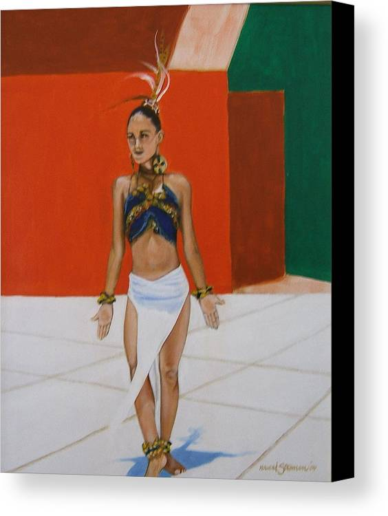 Dancer In Costume Canvas Print featuring the painting Dancer In Costume by Howard Stroman