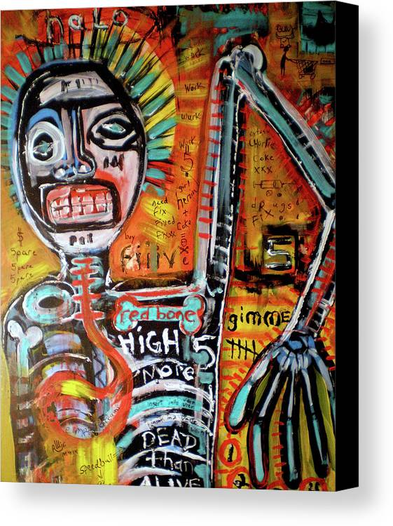 Rwjr Canvas Print featuring the painting Death Of Basquiat by Robert Wolverton Jr