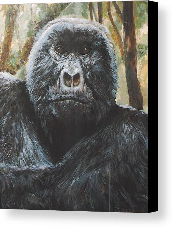 Gorilla Canvas Print featuring the painting Digit by Steve Greco