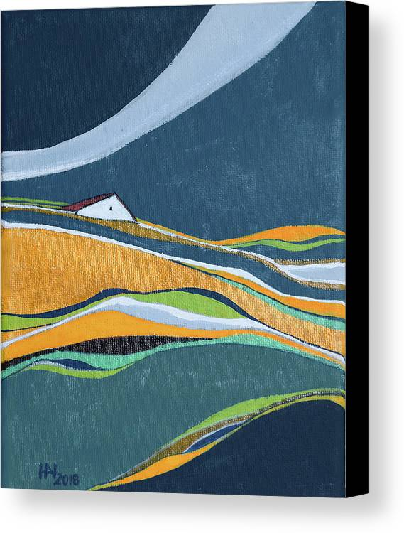 Abstract Canvas Print featuring the painting Distant House by Aniko Hencz