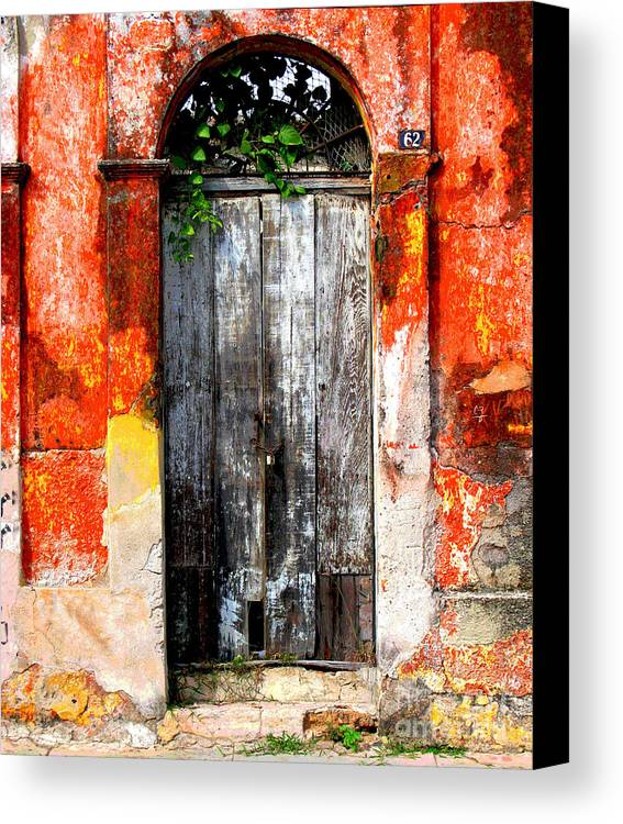 Darian Day Canvas Print featuring the photograph Door At The Red Corner By Darian Day by Mexicolors Art Photography
