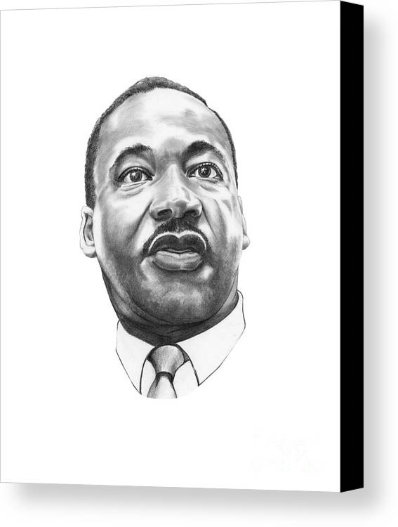 Portrait Canvas Print featuring the drawing Dr. Martin Luther King by Murphy Elliott