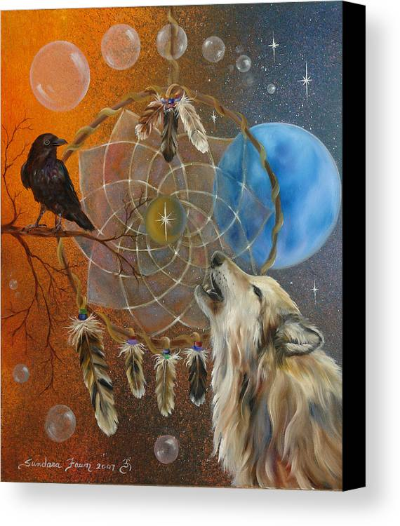 Wolf Canvas Print featuring the painting Dreams Made Easy by Sundara Fawn
