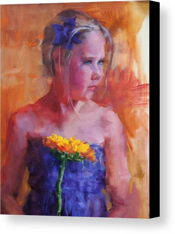 Girl Canvas Print featuring the painting E With A Yellow Flower by Mary Haas
