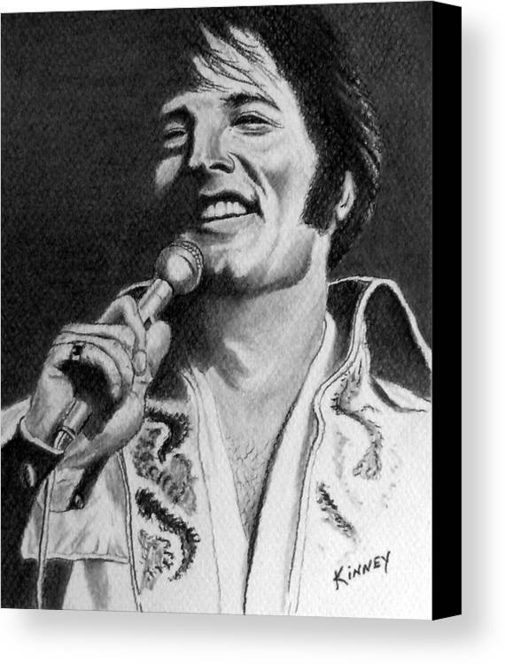 Celebrity Canvas Print featuring the drawing Elvis No. 8 by Jay Kinney