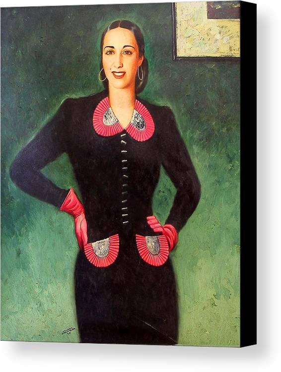 Dreschler Canvas Print featuring the painting Estela Mora De Albarran by Armando Dreschler