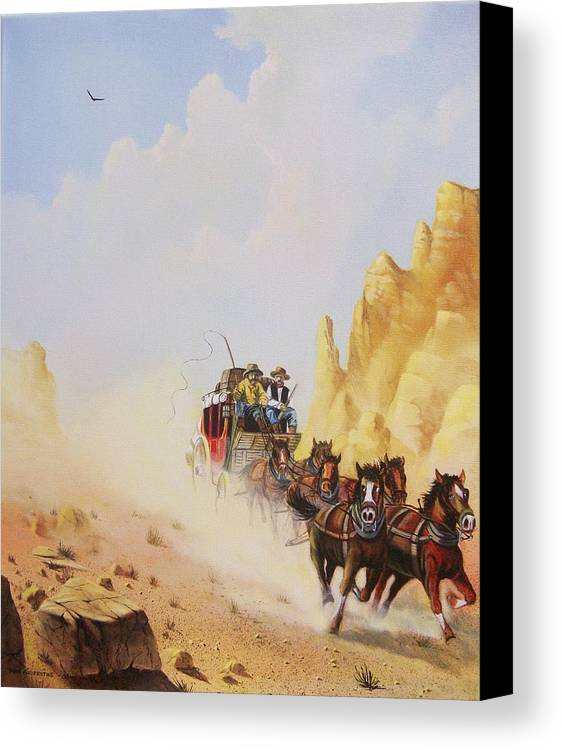 Western Canvas Print featuring the painting Express Run by Don Griffiths