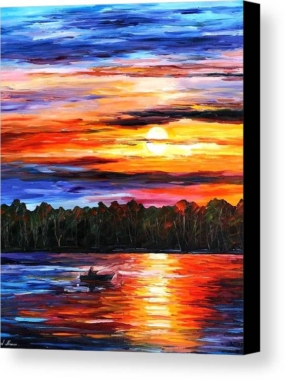 Seascape Canvas Print featuring the painting Fishing By The Sunset by Leonid Afremov