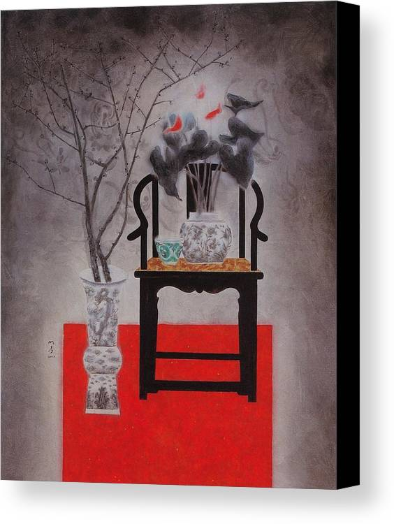 Flowers Paintings Canvas Print featuring the painting Flowers In Vase-black Flowers by Minxiao Liu