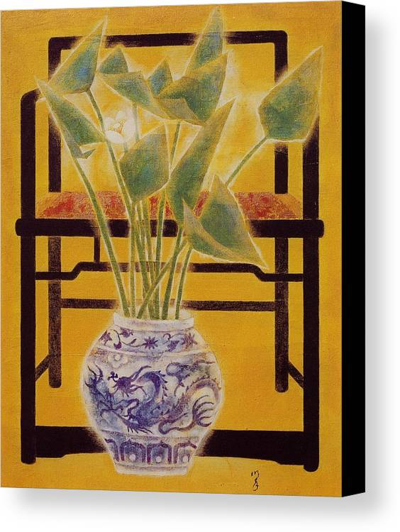 Acrylic Painting Canvas Print featuring the painting Flowers In Vase by Minxiao Liu