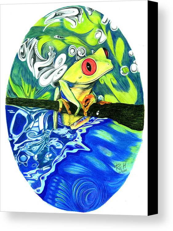Frog Canvas Print featuring the drawing Froggy by James Hammons