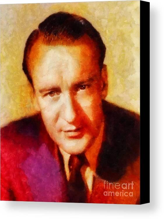 Hollywood Canvas Print featuring the painting George Sanders, Vintage Hollywood Actor by Sarah Kirk