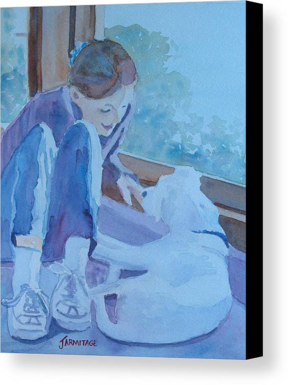 Girl Canvas Print featuring the painting Good Morning Puppy by Jenny Armitage