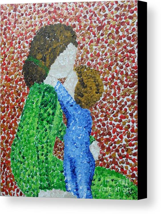 Mother And Child Canvas Print featuring the painting Hug Me Mommy by Dawn Plyler