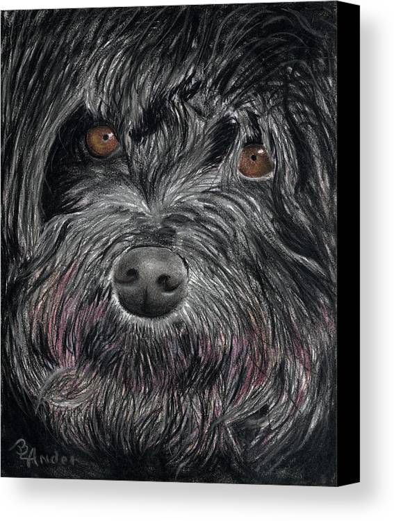 Dog Canvas Print featuring the drawing Is That A Smile by Brent Ander