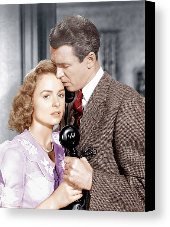 1940s Movies Canvas Print featuring the photograph Its A Wonderful Life, From Left Donna by Everett