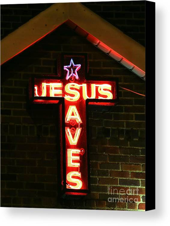 Neon Canvas Print featuring the photograph Jesus Saves In Neon Lights by Douglas Sacha