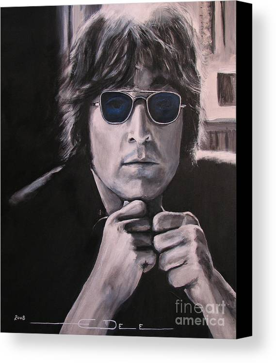 John Lennon Canvas Print featuring the painting JL1 by Eric Dee