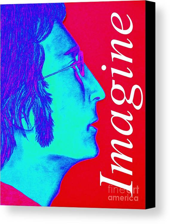 John Lennon Canvas Print featuring the digital art Imagine John Lennon In Profile by Tania Eddingsaas