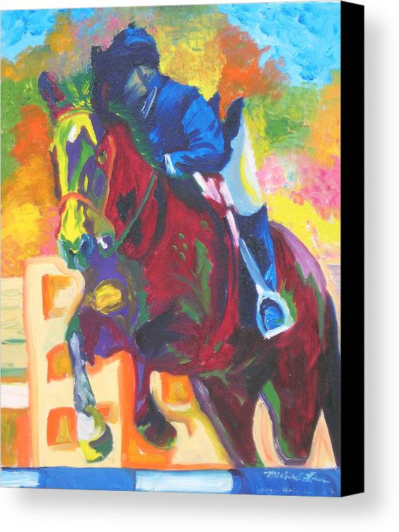 Horse Jumping Canvas Print featuring the painting Jump Off by Michael Lee