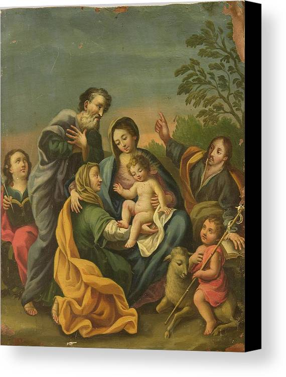 Devotional Canvas Print featuring the painting La Familia Con Los Santos Juanes by Unknown