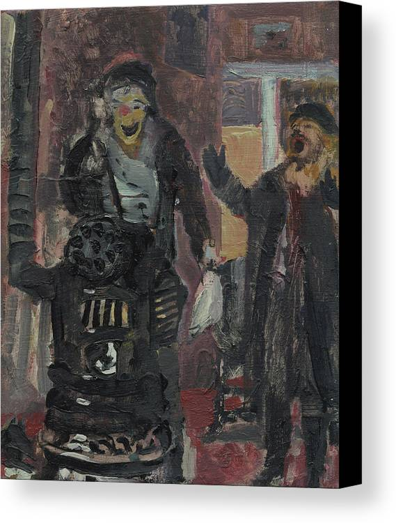 Figure Canvas Print featuring the painting Laboheme Act 1 Burning by Bill Collins