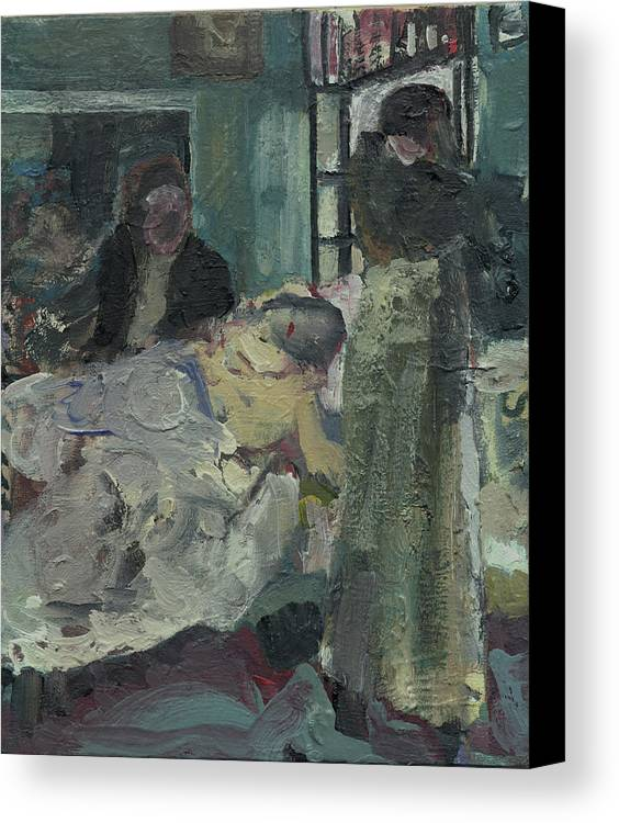 Figure Canvas Print featuring the painting Laboheme Act 4 Mimi Dies by Bill Collins