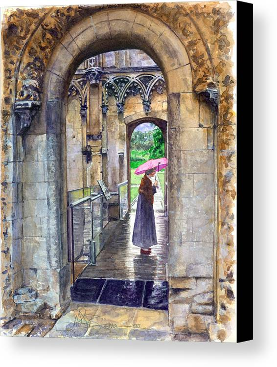 Glastonbury Canvas Print featuring the painting Lady Chapel by John D Benson