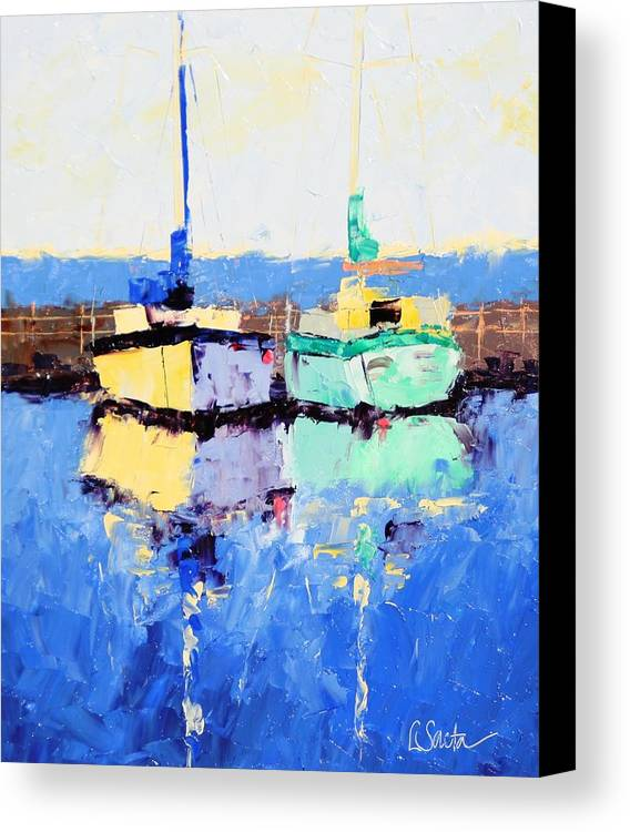 Paintings Canvas Print featuring the painting Lahaina Boats by Leslie Saeta