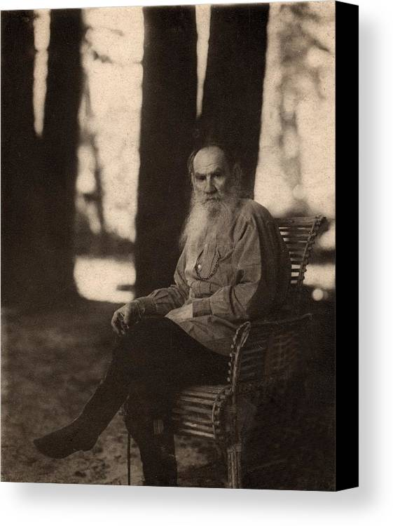 Historical Canvas Print featuring the photograph Leo Tolstoy 1828-1910 Russian Novelist by Everett
