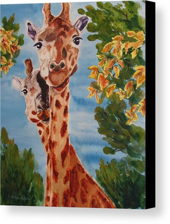 Giraffes Canvas Print featuring the painting Lookin Back by Karen Ilari