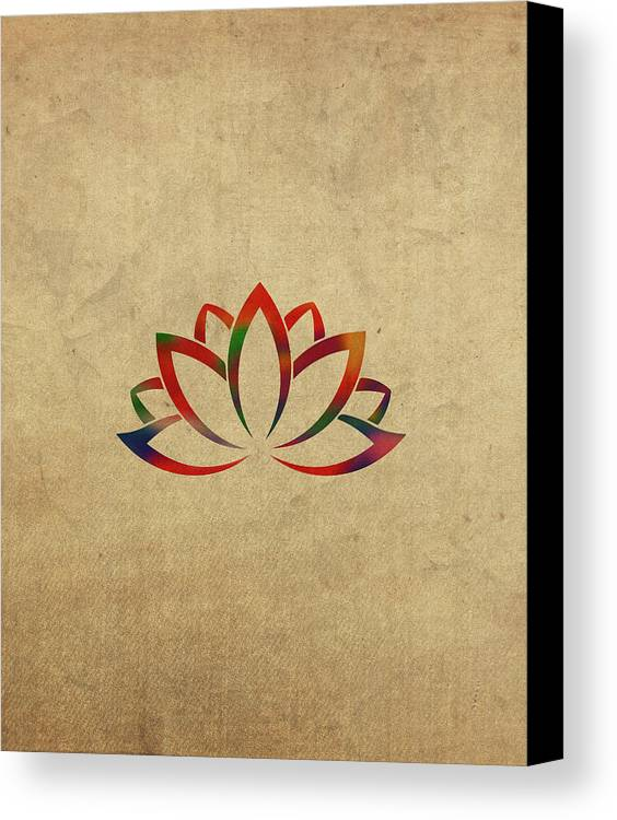 Lotus Flower Buddhist Symbol In Watercolor Canvas Print Canvas Art