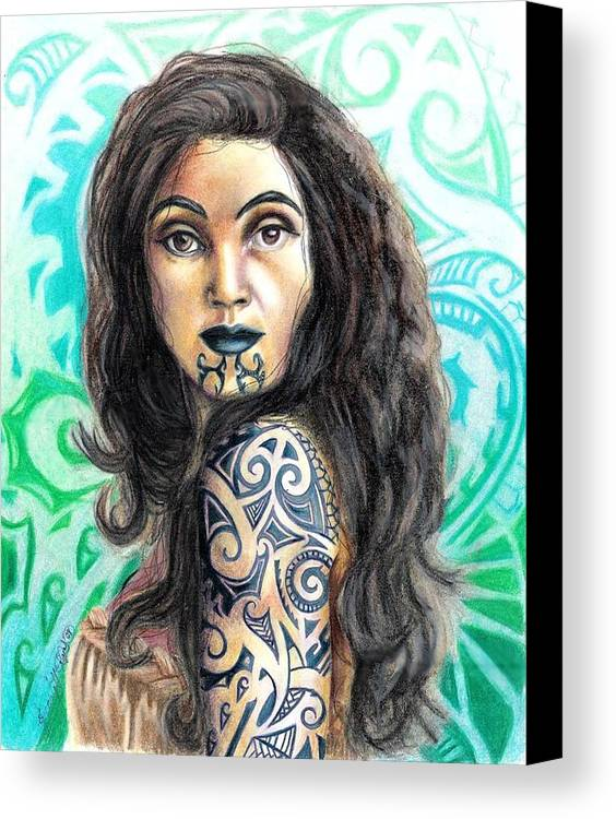 Woman Canvas Print featuring the drawing Maori Woman by Scarlett Royal