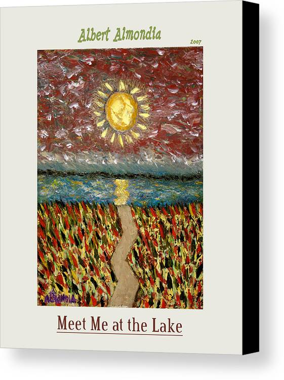 Lake Canvas Print featuring the painting Meet Me At The Lake by Albert Almondia