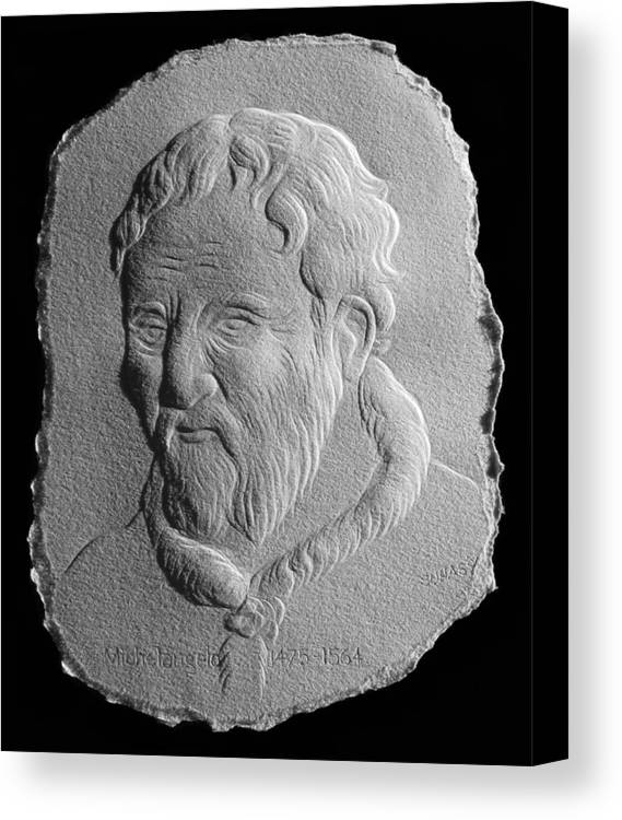 Portrait Canvas Print featuring the relief Michelangelo by Suhas Tavkar