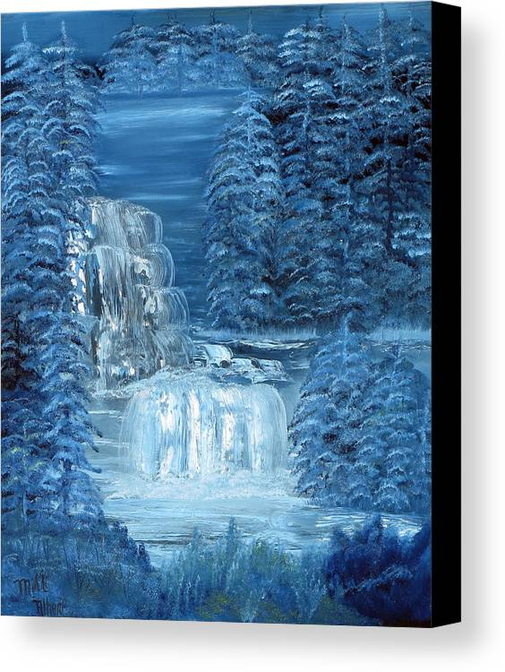 Waterfall Canvas Print featuring the painting Midnight Falls by Mikki Alhart
