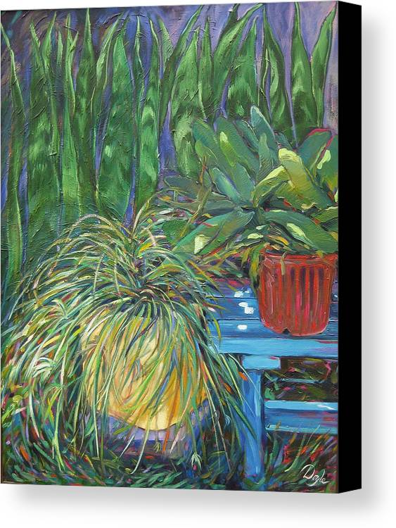 Spider Plant Canvas Print featuring the painting Moonlit Garden by Karen Doyle