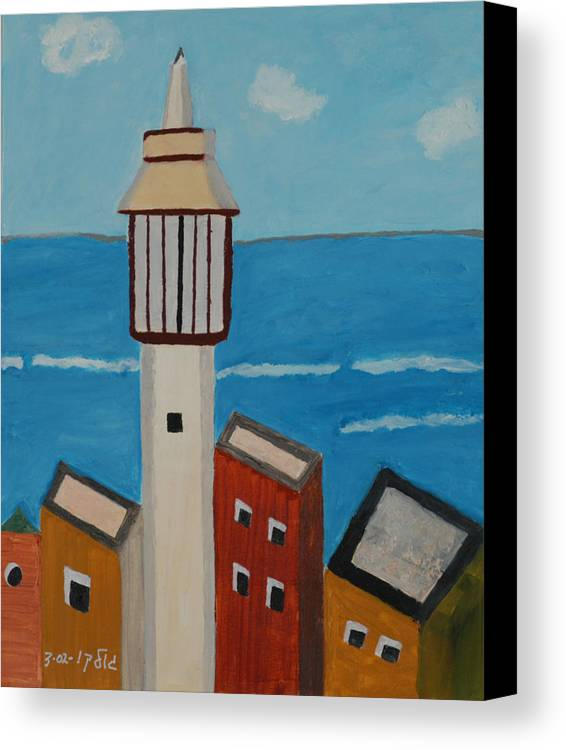 Religoius Seashore Mosque Canvas Print featuring the painting Mosque Seen From Jaffa Restaurant  by Harris Gulko