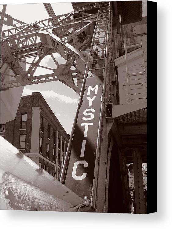 Mystic Canvas Print featuring the photograph Mystic Drawbridge by Heather Weikel